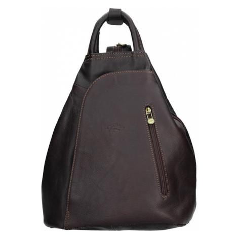 Elegantní dámský kožený batoh Katana Paula - tmavě hnědá