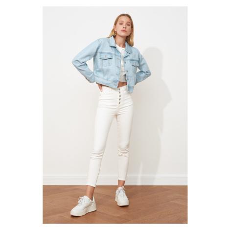 Trendyol Light Blue Basic Crop Denim Jacket