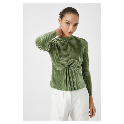 Koton Women's Green Turtleneck Velvet Long Sleeve T-Shirt