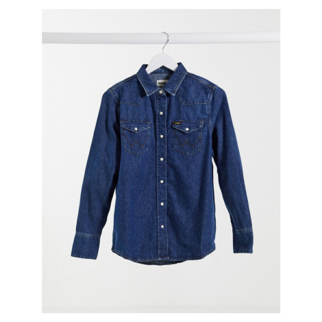 Wrangler denim shirt in mid wash-Blue