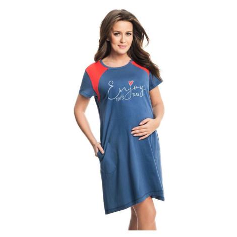 Těhotenská a kojicí noční košile Andrea modrá Dorota