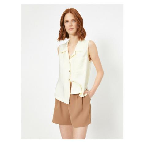Koton Women's Yellow Pocket Detailed Sleeveless Shirt