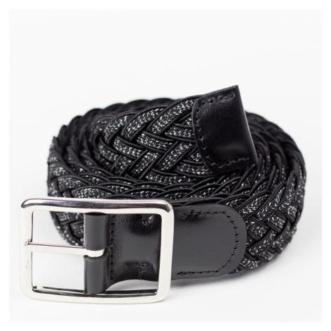 Černý textilní pásek Leather Calf