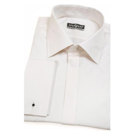 Smetanová pánská košile KLASIK LUX na manžetové knoflíčky - krytá léga Avantgard
