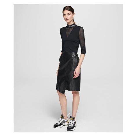 Sukně Karl Lagerfeld Leather Wrap Skirt - Černá