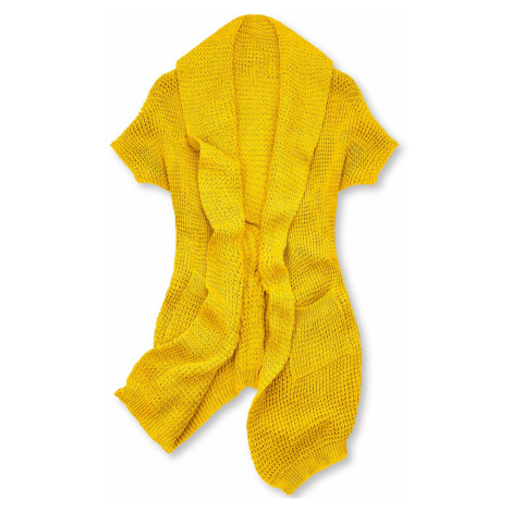 Žlutý asymetrický pletený kardigan Butikovo