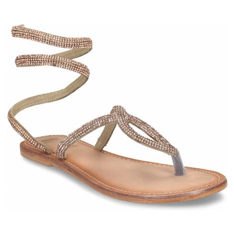 Zlaté kožené dámské sandály s flexibilním páskem Baťa