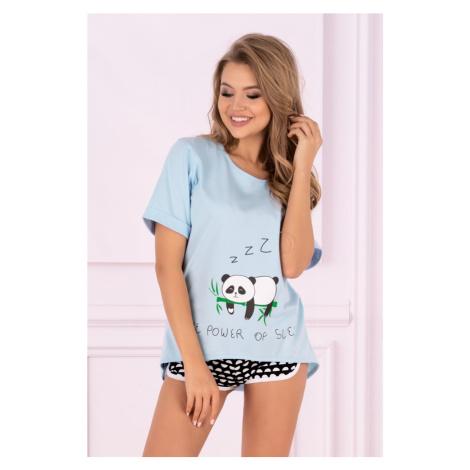 Dámské pyžamo Panda - LivCo Corsetti modro - černá Livia Corsetti