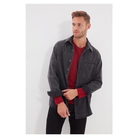 Trendyol Anthracite Men Regular Fit Single Pocket Denim Shirt