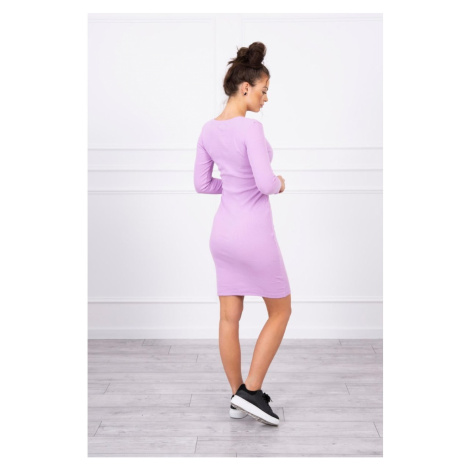 Dress fitted with neckline purple Kesi