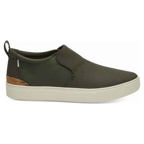 Tarmac Olive Textural Canvas/Nylon Water Resistant Toms