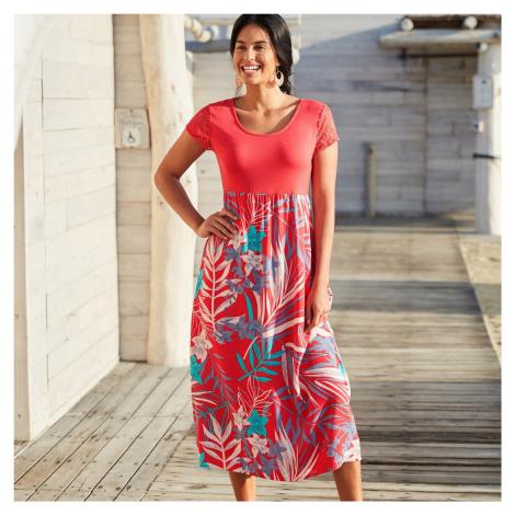 Blancheporte Dlouhé šaty z více materiálů červená