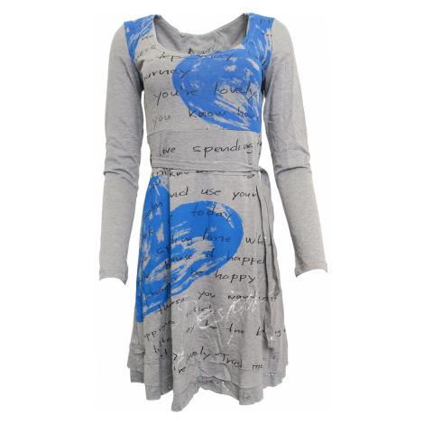 Šedé šaty s modrými srdíčky Desigual