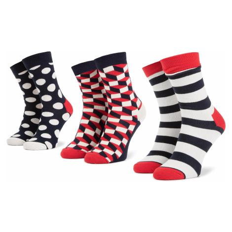 Sada 3 párů vysokých ponožek unisex HAPPY SOCKS - XSTR08-6000 Tmavomodrá