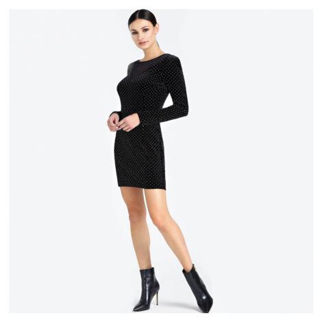 Guess dámské černé šaty se zlatým zdobením