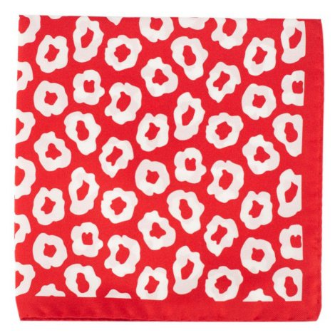Červený hedvábný kapesníček s bílými květy John & Paul