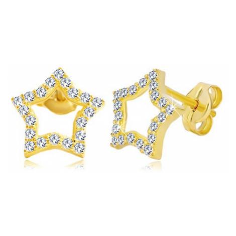 Náušnice ze žlutého zlata 585 - kontura hvězdy zdobená čirými zirkony Šperky eshop
