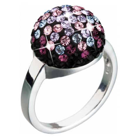 Evolution Group Stříbrný prsten s krystaly fialový 35013.3