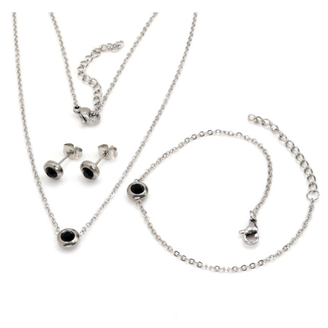 Linda's Jewelry Sada šperků černá Circle chirurgická ocel IS073