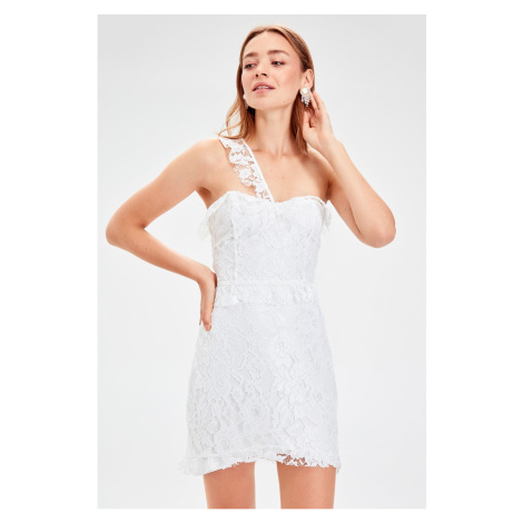 Trendyol Ecru Shoulder Ribbon Detailed Lace Dress