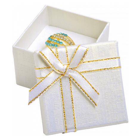 iocel.cz Bílá papírová krabička s mašlí se zlatým okrajem na prsten nebo náušnice IK011