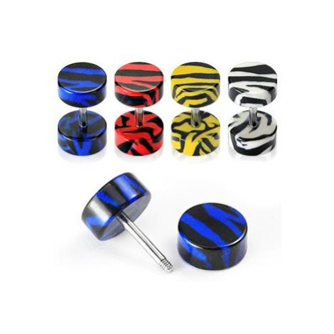 Fake plug do ucha - tygří vzor - Barva piercing: Žlutá Šperky eshop