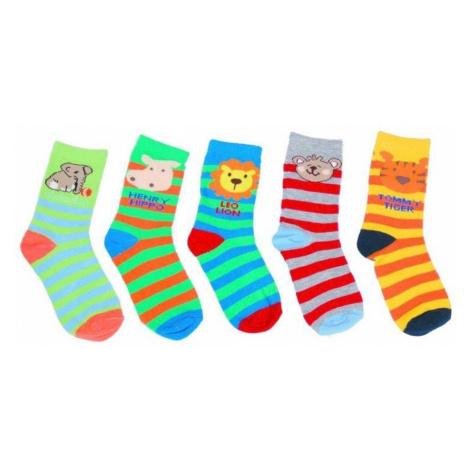 Pruhované dětské ponožky se zvířátky Melek - 5 párů Pidilidi