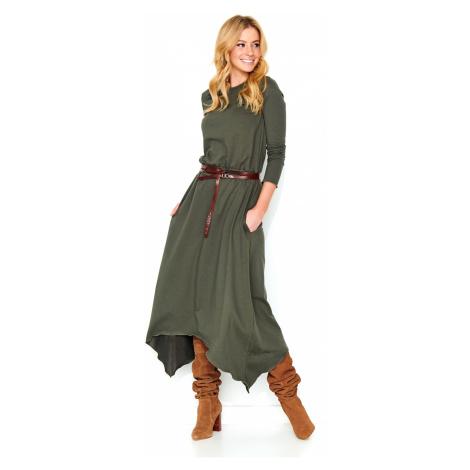 Makadamia Woman's Dress M466 Khaki