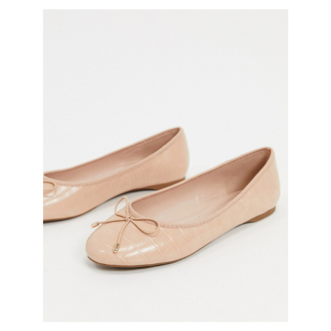 Carvela mollie ballet flats with bow in beige croc