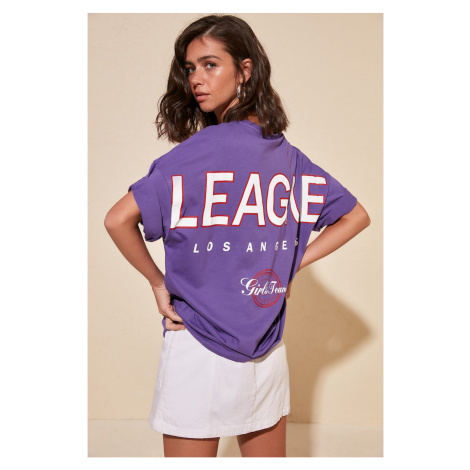 Trendyol Purple Writing Detailed Oversize Knitted T-Shirt