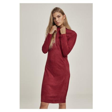 Ladies Peached Rib Dress LS - burgundy Urban Classics