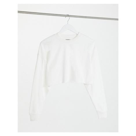 Bershka cropped sweat top in white