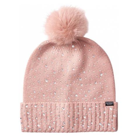 Victorias Secret růžová čepice s kamínky Pom-Pom Hat Victoria's Secret