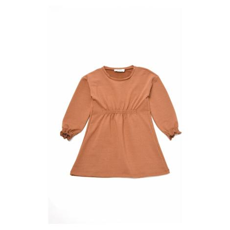 Trendyol Light Brown Pleated Girl Knitted Dress