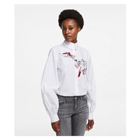 Košile Karl Lagerfeld Orchid Print Poplin Shirt - Bílá