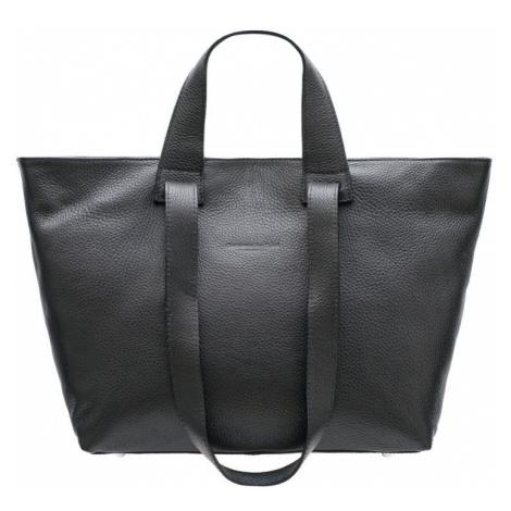 Kožená velká kabelka s krátkým a dlouhým poutkem - černá Glamorous