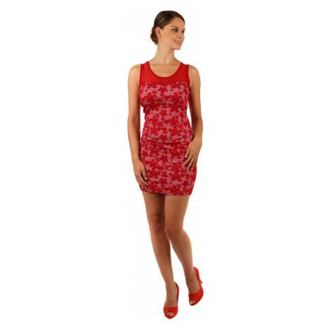Květované šaty s úzkým páskem