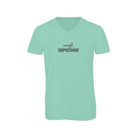 Pánské triko s výstřihem do V Nerušit, odpočívám