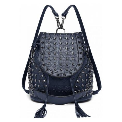 Modrý dámský batoh / kabelka s lebkami Daan Lulu Bags