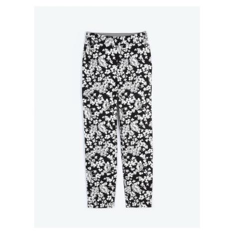 GATE Kalhoty slim fit s květinovým potiskem