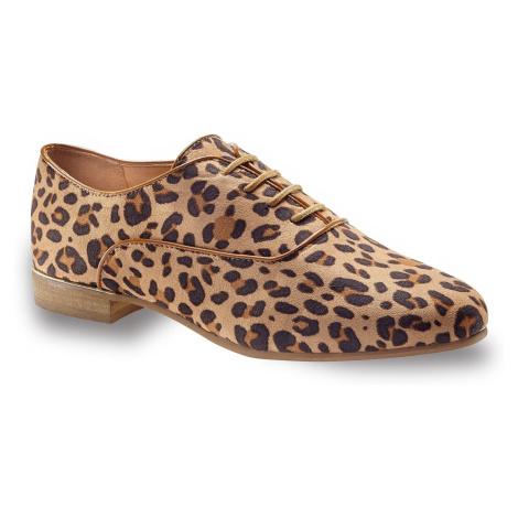 Blancheporte Boty derbies s leopardím vzorem režná/černá