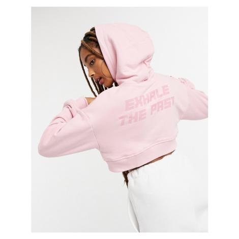 Bershka cropped hoodie co-ord in pink
