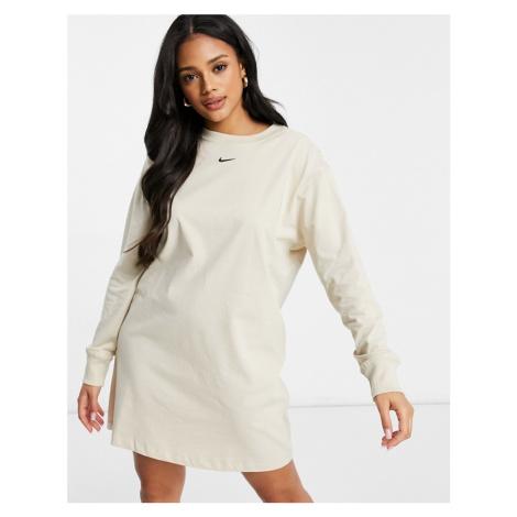 Nike mini swoosh long sleeve t-shirt dress in oatmeal-Beige