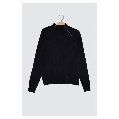 Trendyol Navy Collar Zipper Detailed Knitwear Sweater