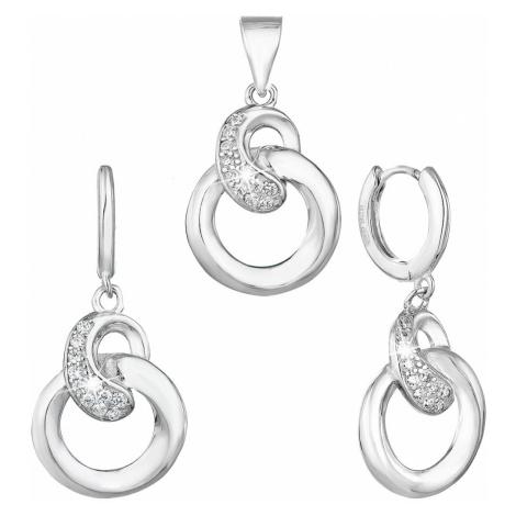 Sada šperků se zirkonem náušnice a přívěsek bílé kulaté 19023.1 Victum