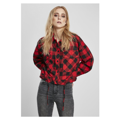 Ladies Short Oversized Check Shirt - black/red