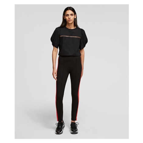 Legíny Karl Lagerfeld Contrast Panel Punto Leggings - Černá