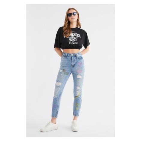 Trendyol Blue Printed High Waist Mom Jeans