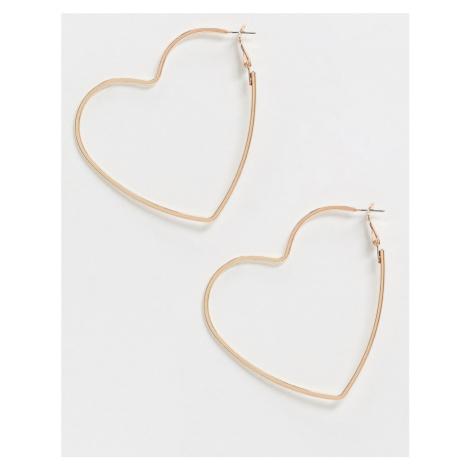 Glamorous oversized hoop earrings in rose gold heart