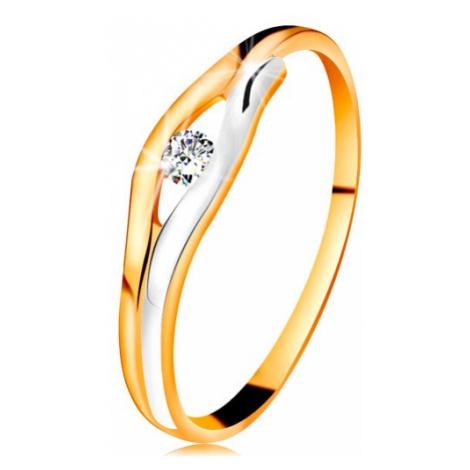 Briliantový prsten ve 14K zlatě - diamant v úzkém výřezu, dvoubarevné linie Šperky eshop